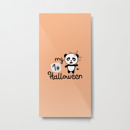 My First Halloween Panda T-Shirt D2fkq Metal Print