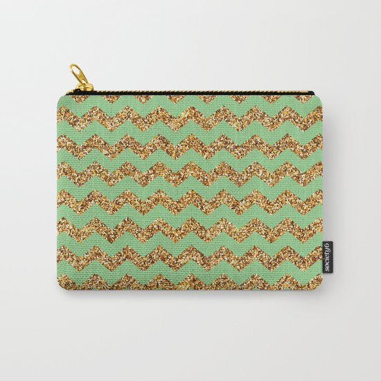 Sea Green Gold Glitter Chevron Carry-All Pouch
