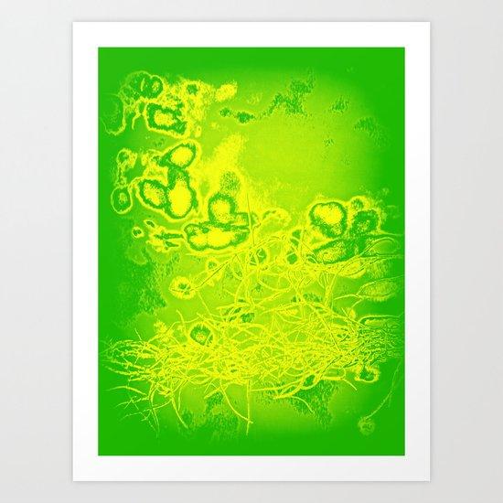 Green & Yellow Abstract Art Print