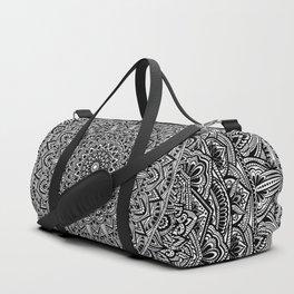 Zen Black and white Mandala Duffle Bag