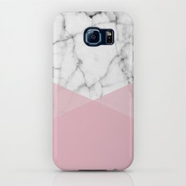 Real White marble Half Rose Pink Modern Shapes iPhone Case