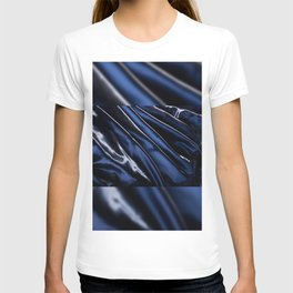 Dark blue glossy crumpled satin T-shirt