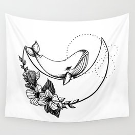 Whale on the Moon Wall Tapestry