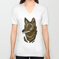 coyote V-neck T-shirts featuring Coyote by Sergio Campos