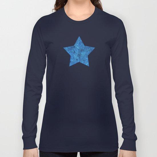 Turquoise blue swirls doodles Long Sleeve T-shirt