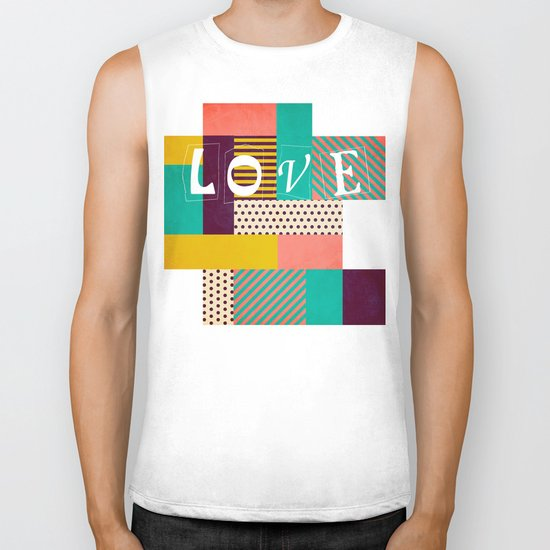 Geometric Love Biker Tank