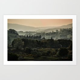 Foggy morning in Lake District Art Print