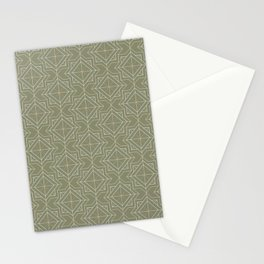 Minimal Geometric Pattern on Sage Green Background Stationery Cards