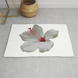Pure White Hibiscus Tropical Flower Rug