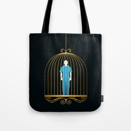 Man in golden bird cage Tote Bag