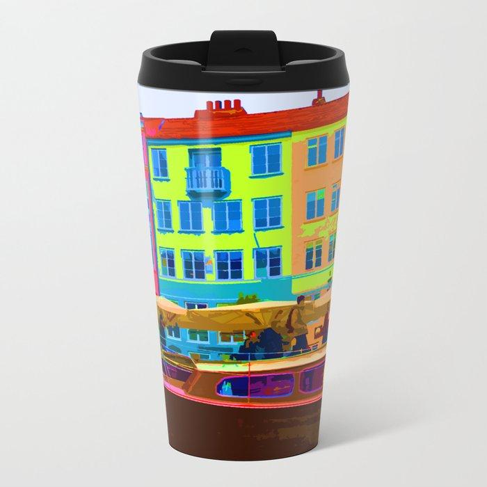 Harbour side Denmark Nyhavn Dayglo Print Metal Travel Mug