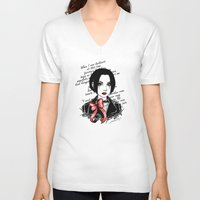 punk rock V-neck T-shirts featuring Punk Rock Queen  by The Art of Leena Cruz :)