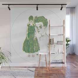 Egon and Edith Schiele Striped Wall Mural