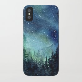 Galaxy Watercolor Space Night Sky Nebula Painting Aurora iPhone Case