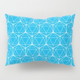 Icosahedron Pattern Bright Blue Pillow Sham