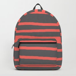 Living Coral Stripes on Gray Backpack
