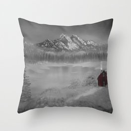 The red cabin Throw Pillow