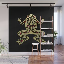 Black and Gold Frog Tribal Digital Art Wall Mural