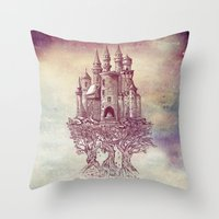 trees Throw Pillows featuring Castle in the Trees by Rachel Caldwell