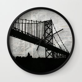 News Feed , Newspaper Bridge Collage, night silhouette cityscape news paper cutout, black and white  Wall Clock