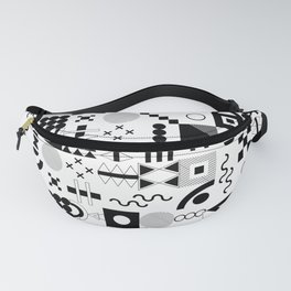 Memphis Black and White Playful Pattern Fanny Pack