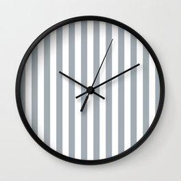 Grey Mist & White Tent Stripe Wall Clock