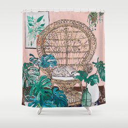 Napping Tabby Cat in Cane Peacock Chair in Tropical Jungle Room Shower Curtain