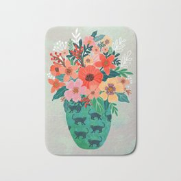 Jar with flowers, cute floral bouquet Bath Mat