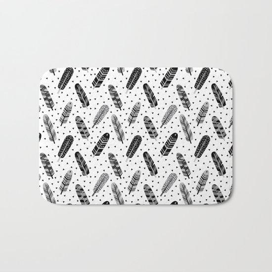 Feathers black and white triangle geometric modern trendy hipster boho southwest native style kids Bath Mat