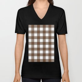 Gingham (Coffee/White) Unisex V-Neck