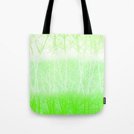 Frosted Winter Branches in Lime Green Tote Bag