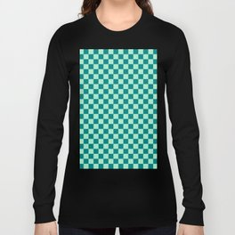 Magic Mint Green and Teal Green Checkerboard Long Sleeve T-shirt