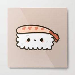 Cute prawn sushi Metal Print