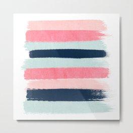 Striped painted coral mint navy pink pattern stripes minimalist Metal Print