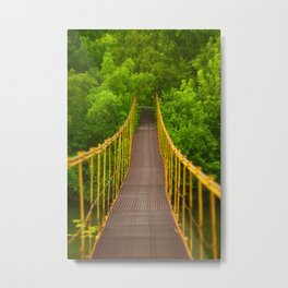 metal suspension bridge over the river Metal Print