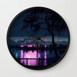 Japanese Nightscape 'Shinobazu Pond at Night' by Hasui Kawase Wall Clock
