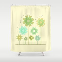 Blooming Flowers and Honey Bees Shower Curtain