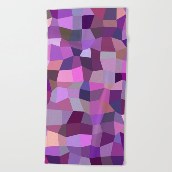 Purplish tile mosaic Beach Towel