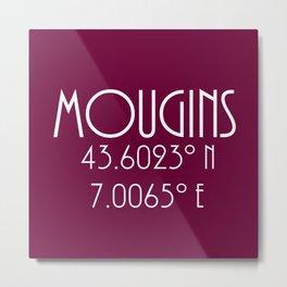 Mougins Latitude Longitude Metal Print