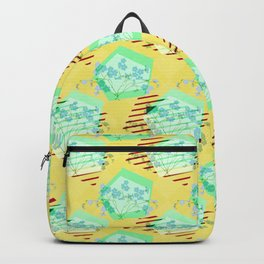 Yellow Geometric Floral Pattern Backpack