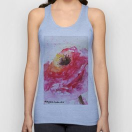 Big Pink Rose Blossom watercolor by CheyAnne Sexton Unisex Tank Top