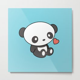 Kawaii Cute Panda With Heart Metal Print