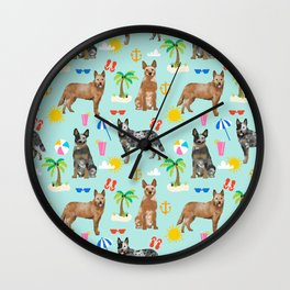Australian Cattle Dog beach tropical pet friendly dog breed dog pattern art Wall Clock