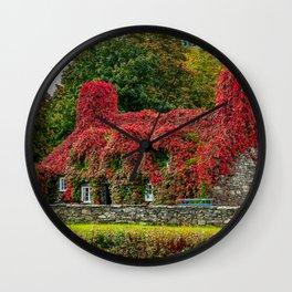 Autumn Tea House Llanrwst Wales Wall Clock
