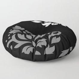 Scroll Damask Art I Black Grey White Floor Pillow