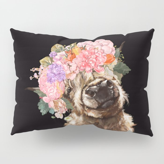 Highland Cow With Flower Crown Black Pillow Sham