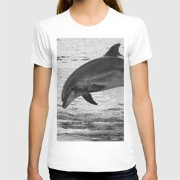 Jumping wild bottlenose dolphin black and white T-shirt