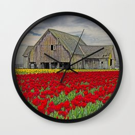 RED TULIPS AND BARN SKAGIT FLATS Wall Clock