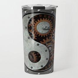 Industrial Steampunk Yin Yang with Gears Travel Mug