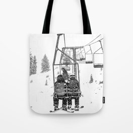 Snow Lift // Ski Chair Lift Colorado Mountains Black and White Snowboarding Vibes Photography Tote Bag